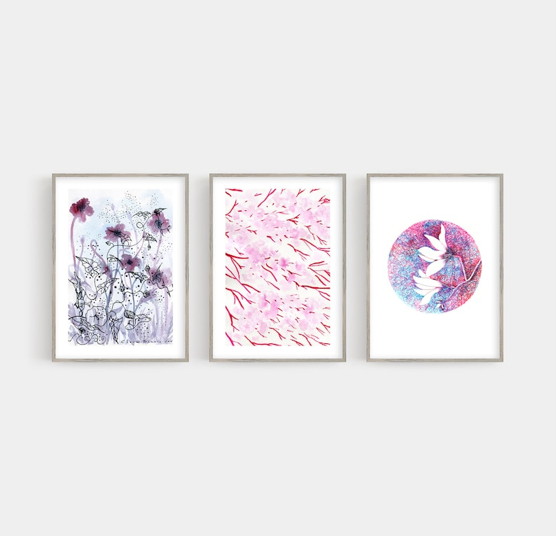 Pink Watercolour Floral Art Set of 3 Prints  // Bedroom Wall image 0