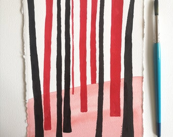 Minimalist Abstract Landscape ORIGINAL painting . Black and red wall art by Dreamy Me Elena Blanco