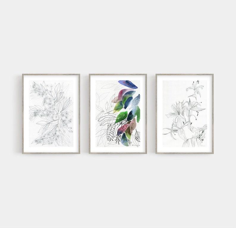 Botanical Drawings Art Set of 3 Prints  // Bedroom Wall Decor image 0