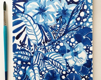 ORIGINAL Painting Blue Ink Floral Illustration - size 11.7 x 8.3 inches / A4