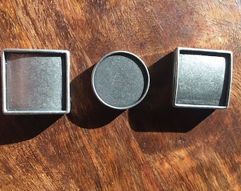 Geometric Hammered Metal Charms Set of 3