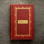 Antique poetry book Percy Bysshe Shelley Poems vintage 1870s book of verse, British edition