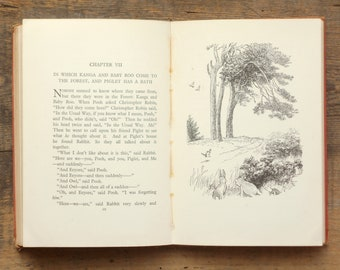 Vintage Winnie the Pooh book by A. A. Milne illustrated by E. H. Shepard, 1950s copy.