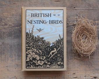 Antique bird book, British Nesting Birds, reprinted in the 1930s