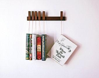 MINI Custom made wooden book rack / bookshelf in Walnut.