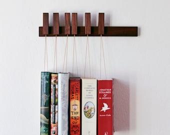 MINI Custom made wooden book rack / book shelf in Walnut.