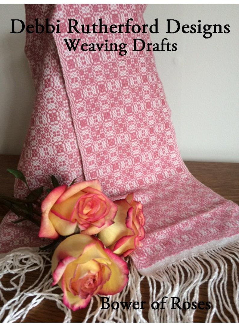 Bower of Roses Overshot Woven Scarf  Weaving Draft Pattern image 0