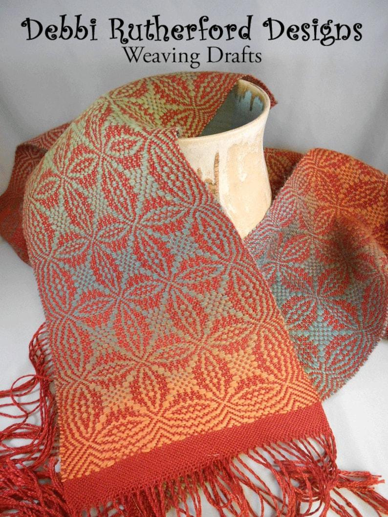 Orange Peel Overshot Woven Scarf  Weaving Draft Pattern image 0