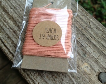 10 Yards - Solid  Baker's  Twine / String • 100% Cotton • Eco Friendly • Gift Wrap • Bakery String  • Peach