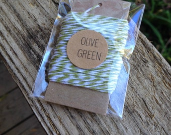 10 Yards • Timeless Twine Baker's  Twine / String • 4-Ply • 100% Cotton •  Gift Wrap • Craft • Olive Green