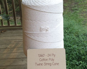1560 Feet • 24-Ply Thick 100% Natural Cotton/Poly Baker's Twine / String 2 Lb. Cone • Bakery String • Box String • Food Safe • Deli String