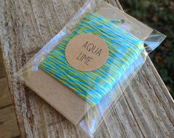 10 Yards • Timeless Twine Baker's  Twine / String • 4-Ply • 100% Cotton •  Gift Wrap • Craft •  Aqua Lime