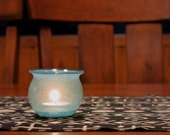 Turquoise Hand Blown Glass Votive Candle Holder
