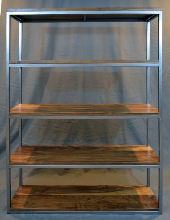 Walnut And Steel Frame Bookcase