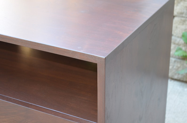 Modern Walnut wood and steel entertainment stand