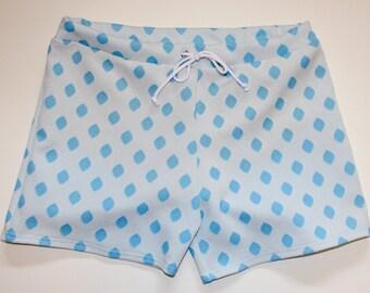 8a75f2eb6b821 Frankie Four Handmade Vintage Style Men's White and Blue Swim Trunks