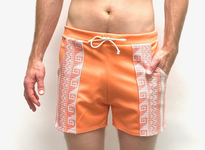 1960s Men's Clothing Frankie Four Handmade Vintage Style Mens Orange Swim Trunks $68.00 AT vintagedancer.com