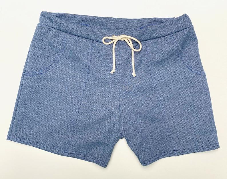 Vintage Men's Swimsuits – 1930s, 1940s, 1950s History Frankie Four Handmade Vintage Style Mens Denim Blue Swim Trunks $68.00 AT vintagedancer.com