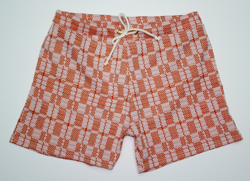 Vintage Men's Swimsuits – 1930s to 1970s History Frankie Four Handmade Vintage Style Mens Orange and Cream Swim Trunks $64.00 AT vintagedancer.com