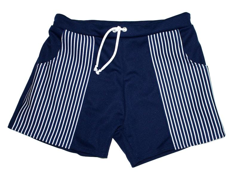 1960s Men's Clothing Frankie Four Handmade Mens Vintage Navy Striped Swim Trunks $68.00 AT vintagedancer.com