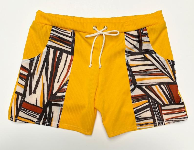 Vintage Men's Swimsuits – 1930s, 1940s, 1950s History Frankie Four Handmade Vintage Style Mens Yellow Swim Trunks $68.00 AT vintagedancer.com