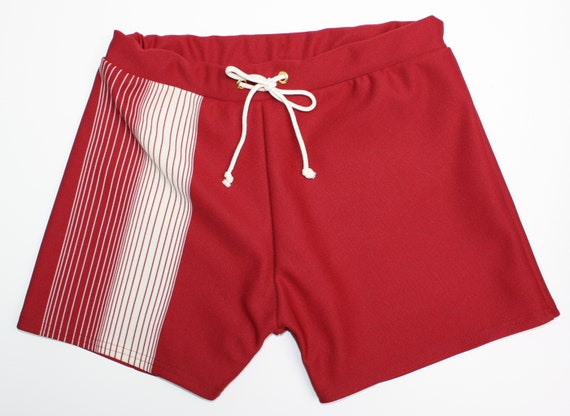 Vintage Men's Swimsuits – 1930s to 1970s History Frankie Four Handmade Vintage Style Mens Maroon Swim Trunks $64.00 AT vintagedancer.com