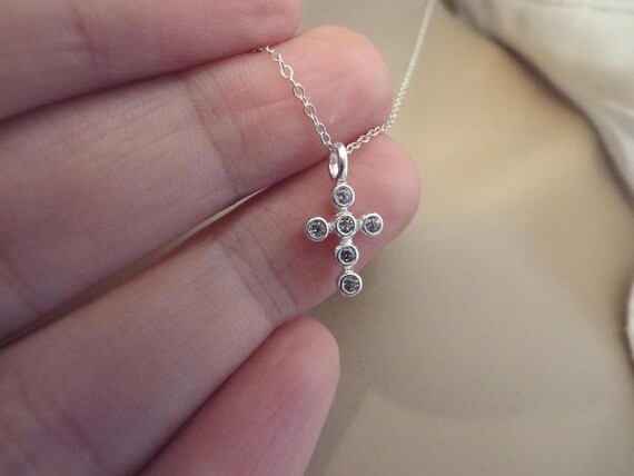 Tiny Cross Necklace Sterling Silver Cz Diamond Simple Silver Etsy