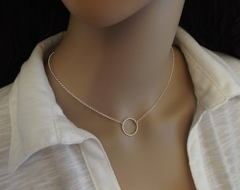 Sterling Silver Circle Necklace, Diamond cut Karma Circle, Eternity Necklace, Solid 925 Silver, Minimal Circe Necklace, Bridesmaid Gifts