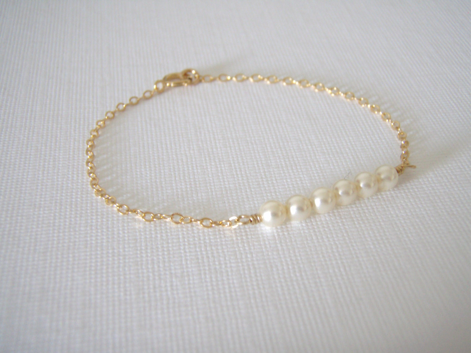 Gold Pearl Bracelet 14k Gold Filled Dainty Petite Pearls