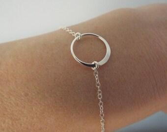 SALE Sterling Silver circle bracelet- dainty karma- minimalist- Tiny Eternity Circle Bracelet- delicate tiny round forever infinity bracelet