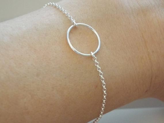 Sterling Silber Karma, Silber Kreis Armband, einfachen Schmuck  minimalistisch, Silberschmuck, einfache Ewigkeit Armband 3933415738