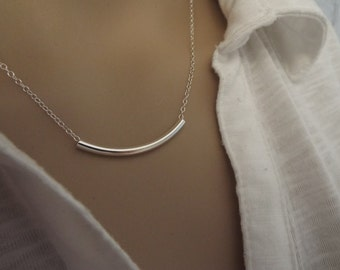 925 Sterling Silver curved tube bar necklace- Simple silver necklace-  Everyday jewelry- Tube necklace