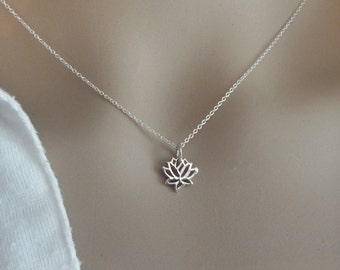 Tiny Lotus Necklace Sterling Silver 925 Dainty & Delicate Minimal Jewelry, Yoga Jewelry, Thin long or short necklace