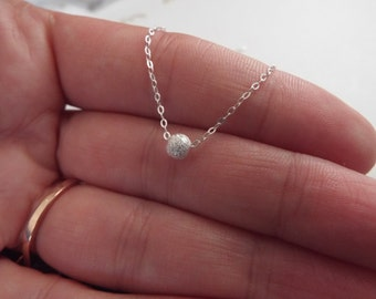 SALE Sterling Silver Bead Necklace- Tiny Dot Single Bead- Dainty Silver Necklace- Solid Sterling everyday jewelry Stardust Bead Minimalist