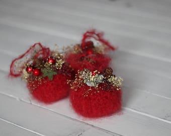 Red Christmas Ornament, Crochet Mohair ornament, gift under 5