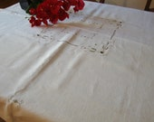 Italian Linen Tablecloth Vintage Hand Embroidery