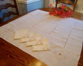 Linen Tablecloth with Four Matching Napkins Gold Embroidery Vintage Table Linens 34 quot Square