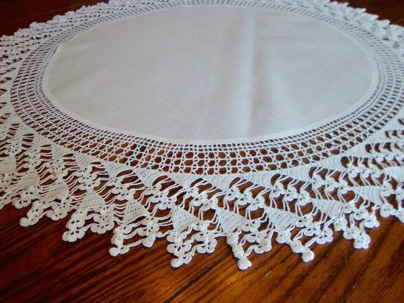 White Linen Tablecloth Round Table Cover Crochet Trim Vintage Large Doily