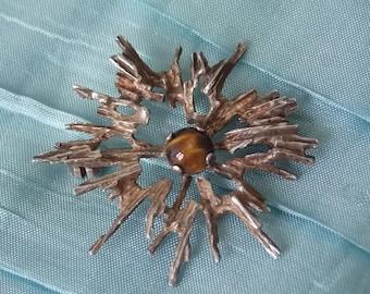 Danish Silver Brutalist Brooch Pin NB