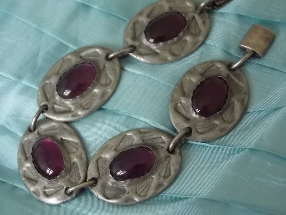 Gorgeous Arts Crafts Amethyst Glass  Ruskin Style