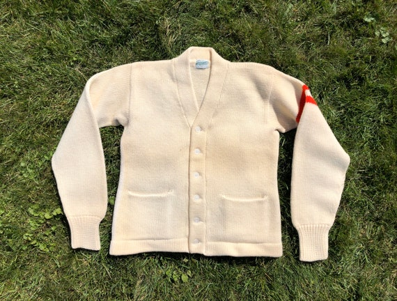 1960s Varsity Wool Sweater, Wool Cardigan, off whi
