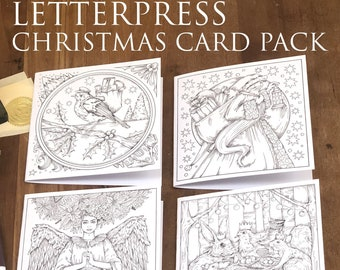 Letterpress Christmas Card Pack - 4 cards by Kelly O'Gorman