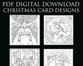 PDF Digital Download  - 4 Christmas Designs -  by Kelly O'Gorman