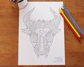 Taurus -  Instant PDF Download A4 - Sign of the Zodiac