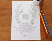 Cancer -  Instant PDF Download A4 - Sign of the Zodiac
