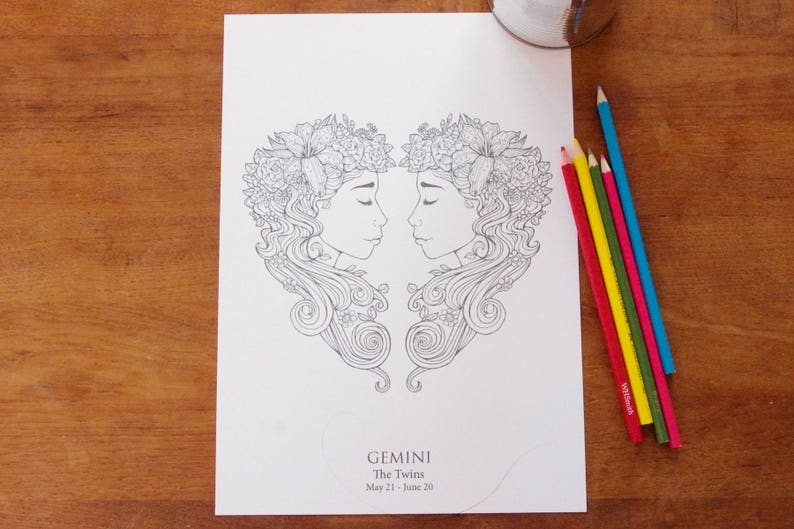 Gemini   Instant PDF Download A4  Sign of the Zodiac image 0