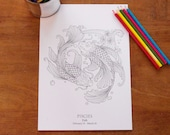 Pisces -  Instant PDF Download A4 - Sign of the Zodiac
