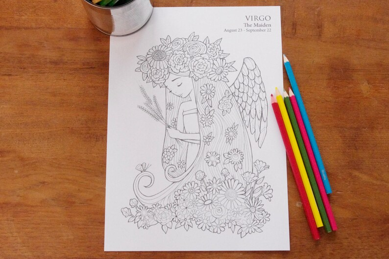 Virgo   Instant PDF Download A4  Sign of the Zodiac image 0