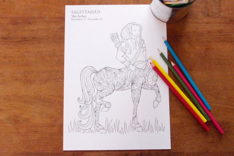 Sagittarius   Instant PDF Download A4  Sign of the Zodiac image 0