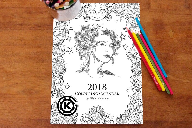 12 images from the 2018 Colouring Calendar by Kelly image 0